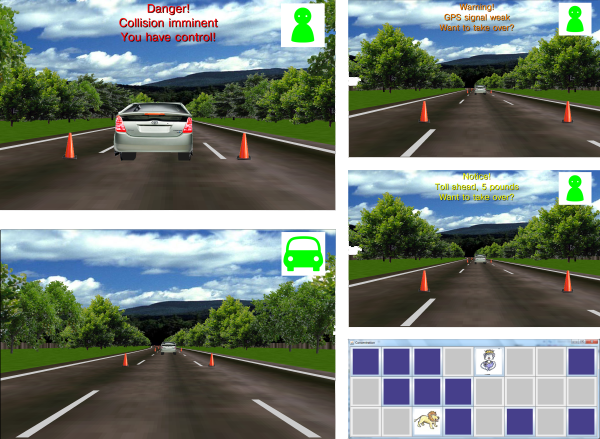 Experimental setup of experiment investigating warnings for autonomous car handovers of control